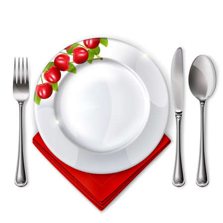 empty plate: Empty plate with spoon, knife and fork on a white background. Mesh. Clipping Mask. Illustration