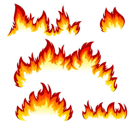 Flames of different shapes on a white background. Illustration