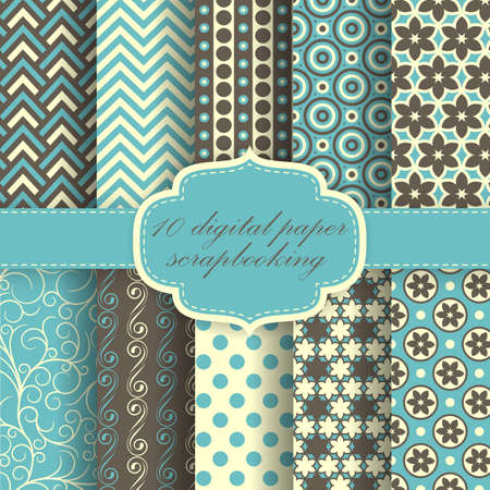 seamless paper: Set of Beautiful Paper For Scrapbook. Illustration