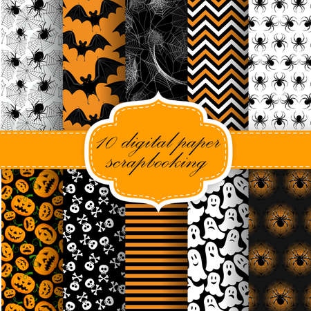 Collection of Halloween Themed Seamless  Backgrounds. Halloween Digital Paper For Scrapbook. Ilustracja