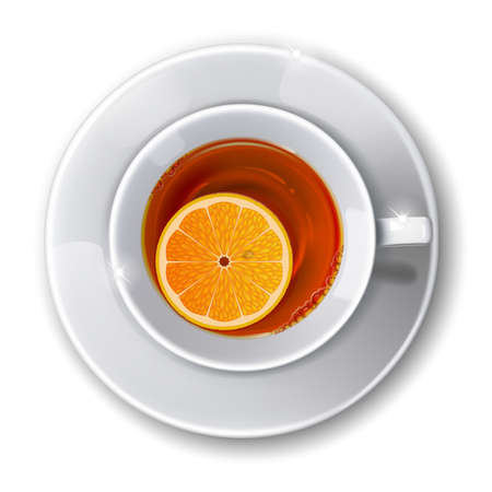 top menu: Top view on  cup with  tea on a white background. Mesh. This file contains transparency. Illustration