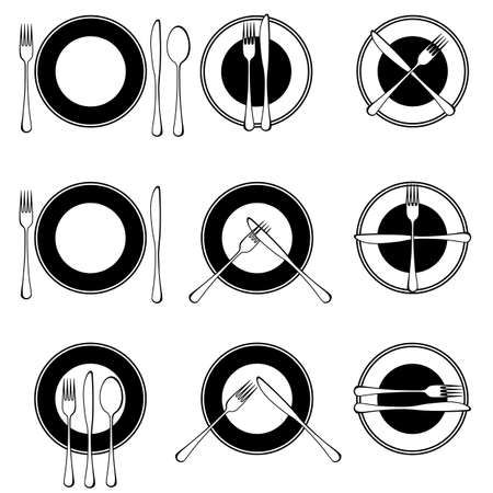 dining out: Character set cutlery in the restaurant. Isolated. Illustration
