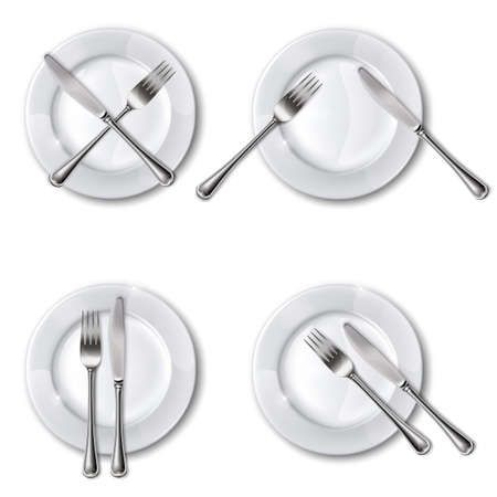 Character set cutlery in the restaurant. Isolated.Mesh.This file contains transparency. Vector