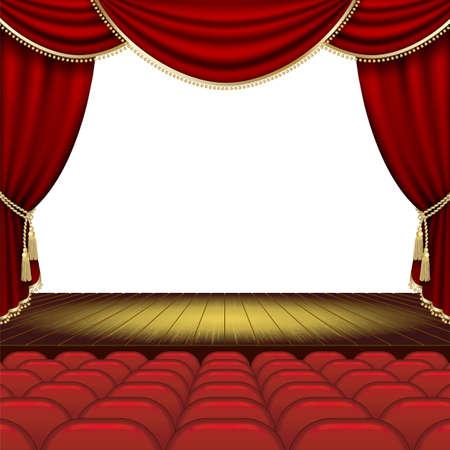 telon de teatro: Teatro escenario con tel�n rojo. M�scara de recorte. Malla. Vectores