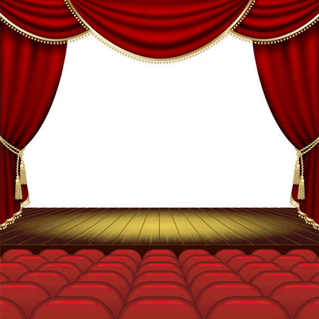 theater auditorium: Theater stage  with red curtain. Clipping Mask. Mesh.