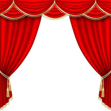 cortinas rojas: Teatro escenario con tel�n rojo. M�scara de recorte. Malla. Vectores