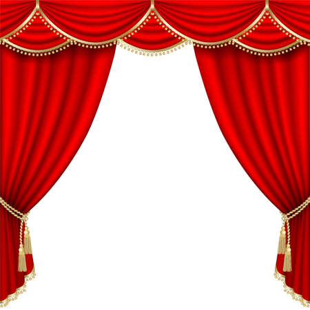 gold string: Theater stage  with red curtain. Clipping Mask. Mesh.