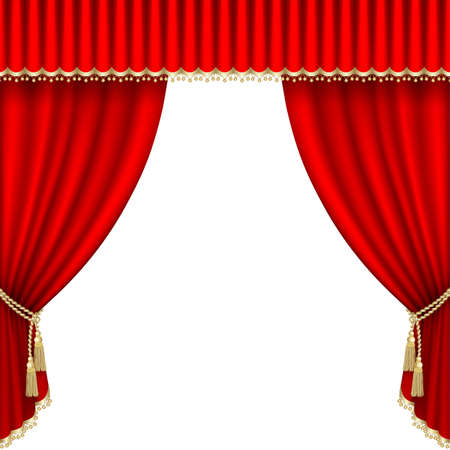 playhouse: Theater stage  with red curtain. Clipping Mask. Mesh.