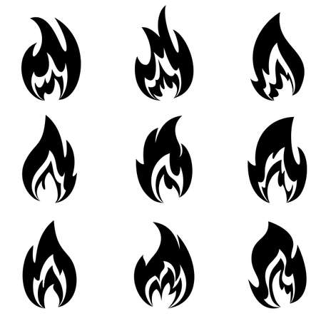 different shapes: Flames of different shapes on a white background. Illustration