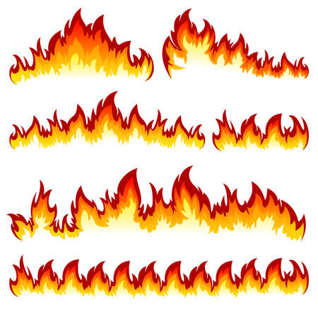 Flames of different shapes on a white background. Vettoriali