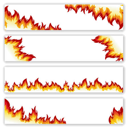 fire flames: Set of  banners  flame of different shapes on a white background.Clipping Mask.