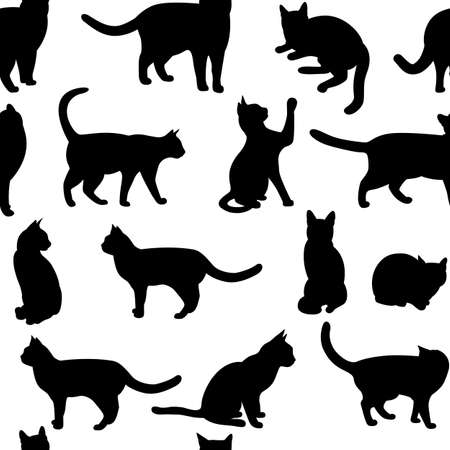 domestic cat: Seamless  with black cat.(can be repeated and scaled in any size)