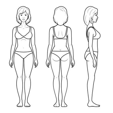 Vektorillustration einer weiblichen Figur - Front, Rückseite und Seitenansicht in der Unterwäsche