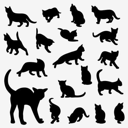 large group of objects: Set of cats Silhouettes on a white background. Illustration