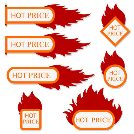 Burning with fire design sale stickers and tags.