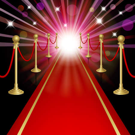 Red carpet with guard. Clipping Mask. Mesh.This file contains transparency.EPS10 Zdjęcie Seryjne