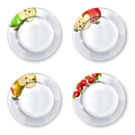 Collection of plates  on a white background. Mesh. Clipping Mask. This file contains transparency.