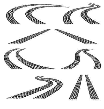 vehicle track: Set of road with tire tracks.Black and white.Clipping Mask. Illustration