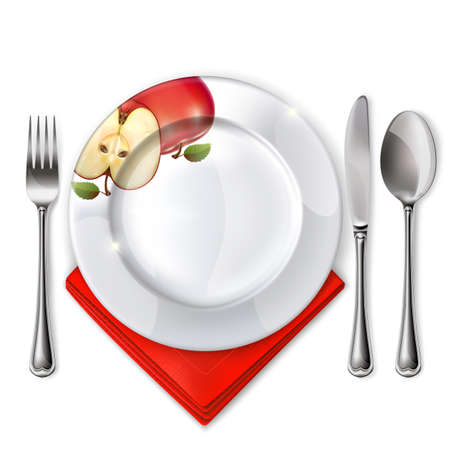 Empty plate with spoon, knife and fork on a white background. Mesh. Clipping Mask. Illustration