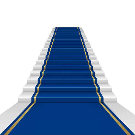 Blue carpet with guard. Clipping Mask. Mesh. Illustration