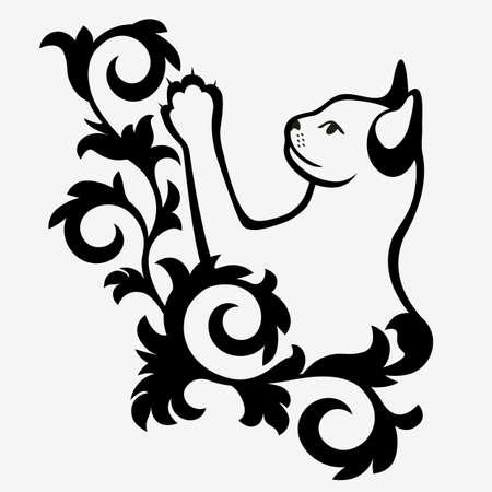 Black and white Isolated kitten illustration.