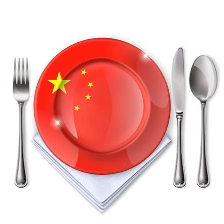 A plate with an Chinese flag, Empty plate with spoon, knife and fork on a white backdrop.