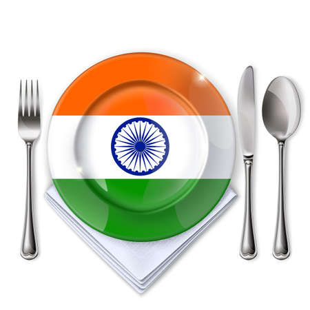 A plate with an Indian flag, Empty plate with spoon, knife and fork on a white backdrop.