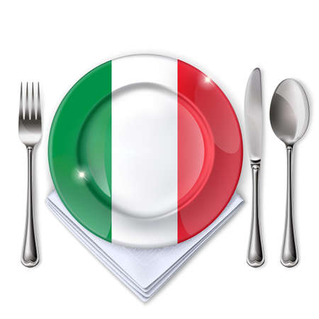A plate with an Italian flag, Empty plate with spoon, knife and fork on a white backdrop.