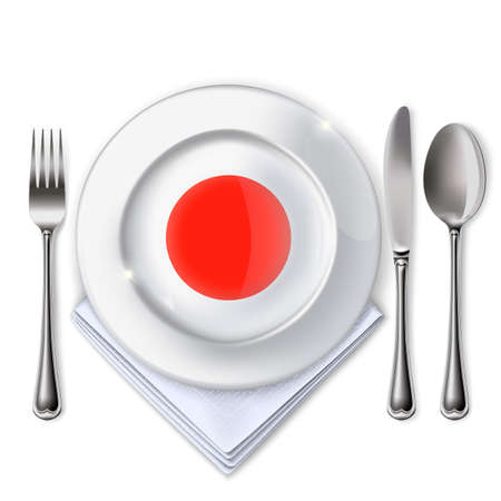 A plate with a flag, Empty plate with spoon, knife and fork on a white backdrop.