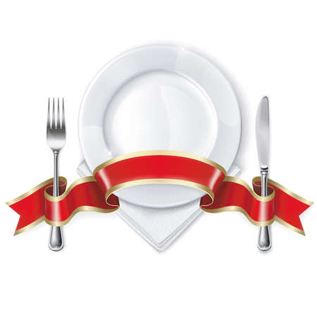 Empty plate with ribbon, spoon, knife and fork on a white background. Mesh. Clipping Mask. This file contains transparency.