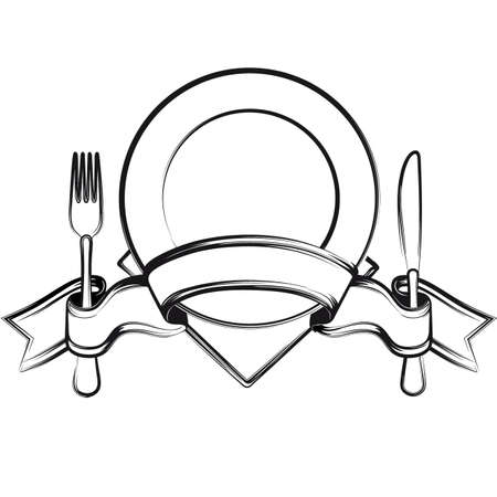 Empty plate with ribbon, spoon, knife and fork on a white background.Black and white