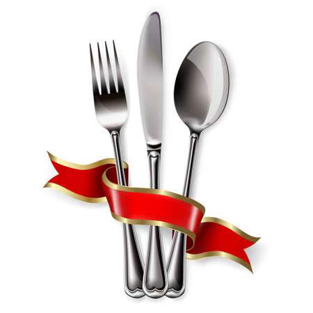 Ribbon, spoon, knife and fork on a white background. Mesh. Clipping Mask. This file contains transparency.