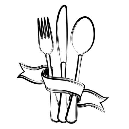 Ribbon, spoon, knife and fork on a white background.Black and white