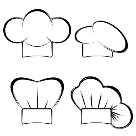 Collection of chefs hats on a white background.Black and white