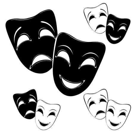 Collection of theater masks on a white background. Illustration
