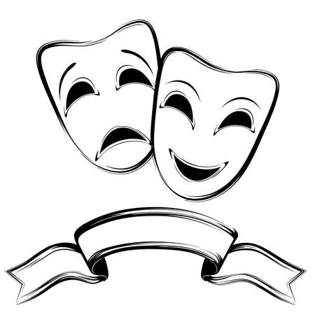 Theatrical mask on a white background. Black and white. Isolated