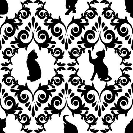 Seamless  with black cats and plants.(can be repeated and scaled in any size)