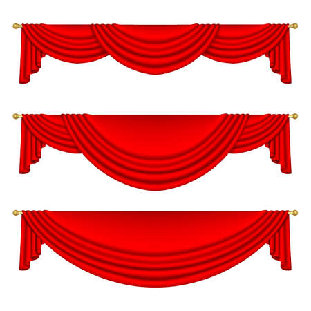 Set of red curtains to theater stage. Mesh. Isolated