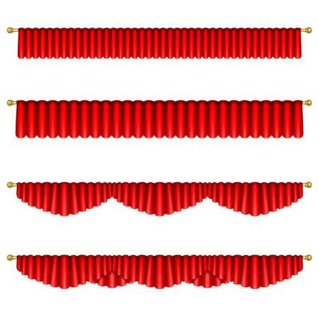 Conjunto de cortinas rojas para el escenario del teatro. Malla. Aislado