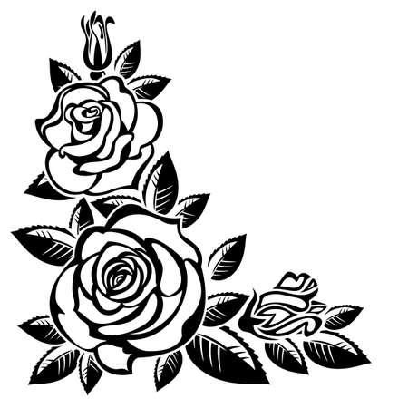 Corner of roses on a white background; Ilustracja