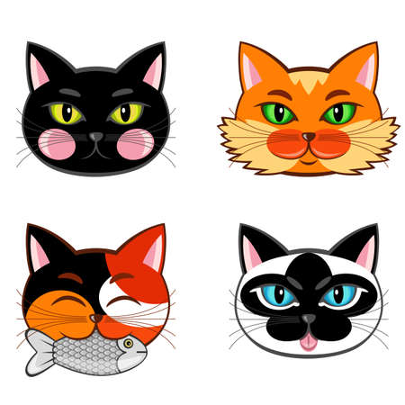 Collection of four cat snouts. Ilustracja
