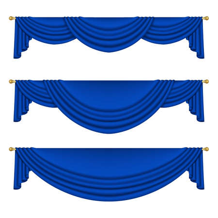 Set of blue curtains to theater stage. Mesh. Isolated Ilustracja