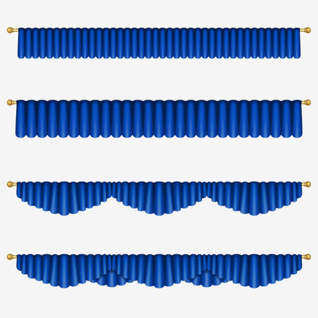 Set of blue curtains to theater stage. Mesh. Isolated Illustration