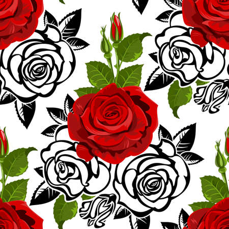 Seamless  from roses and  leaves. (can be repeated and scaled in any size)