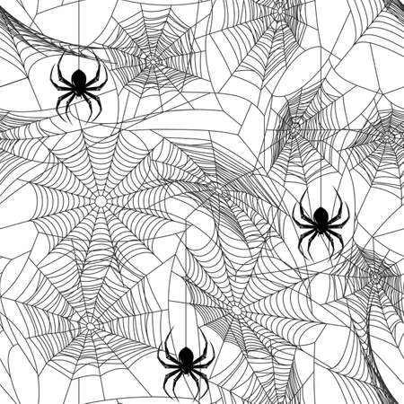 Halloween black seamless  with web and spider
