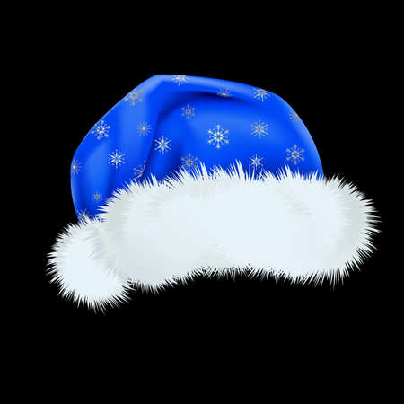 Blue Santa Claus hat with the pattern of silver snowflakes . Mesh.