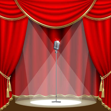 Theater stage  with microphone and red curtain. Clipping Mask. Mesh. Ilustracja