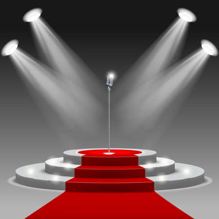 Red carpet with ladder and microphone Clipping Mask. Mesh. Illustration
