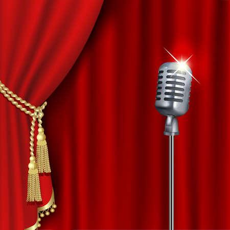 Escenario de teatro con micrófono y cortina roja. Máscara de recorte. Malla. Ilustración de vector