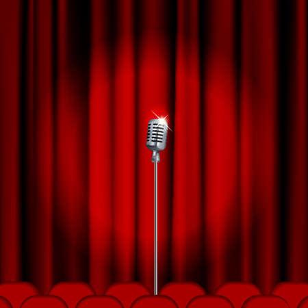 Escenario de teatro con micrófono y cortina roja. Máscara de recorte. Malla.